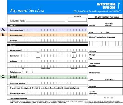 Sample Western Union Quick Pay Form