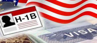 H-1B, American Flag, and US Visa Collage