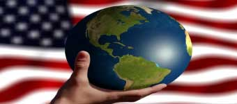 Hand Holding Globe with US Flag Background